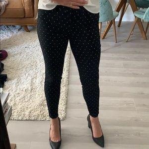 Black and white polka dot ankle pants